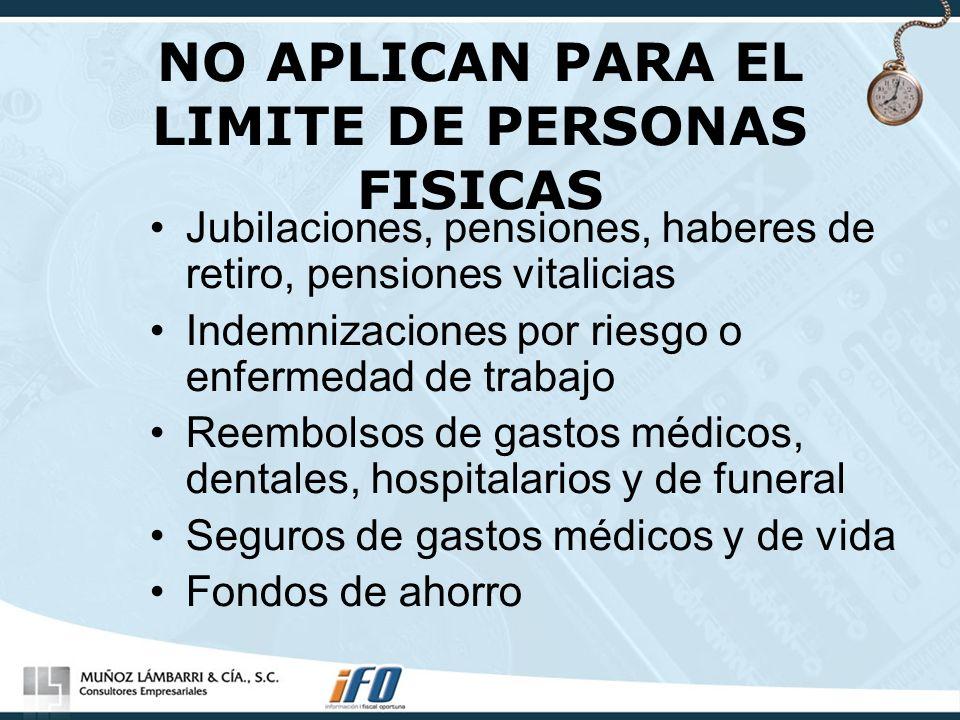 NO APLICAN PARA EL LIMITE DE PERSONAS FISICAS