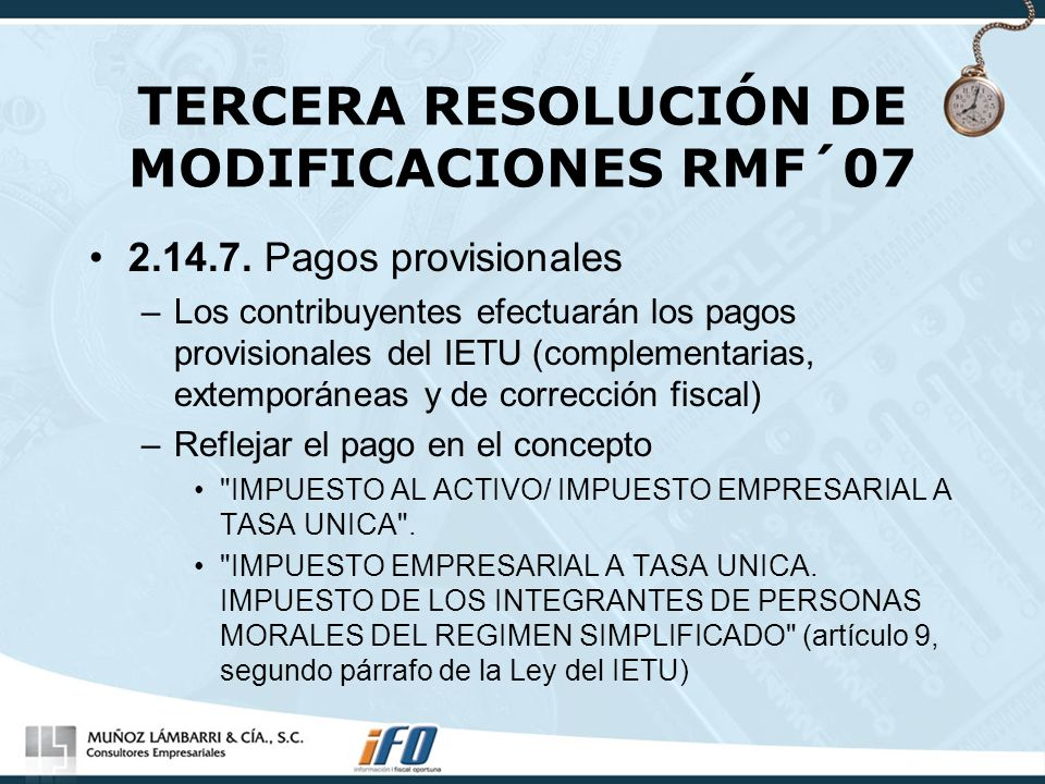 TERCERA RESOLUCIÓN DE MODIFICACIONES RMF´07