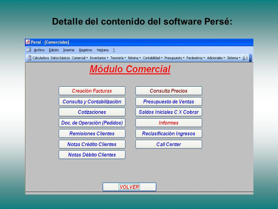 Detalle del contenido del software Persé: