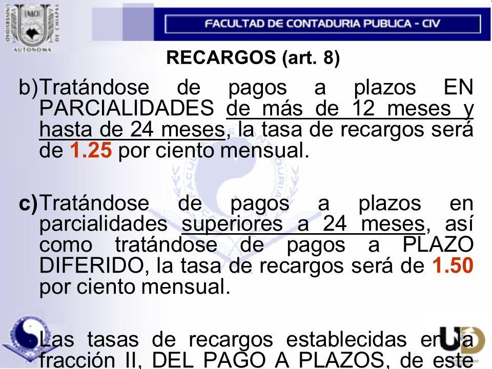 RECARGOS (art. 8)