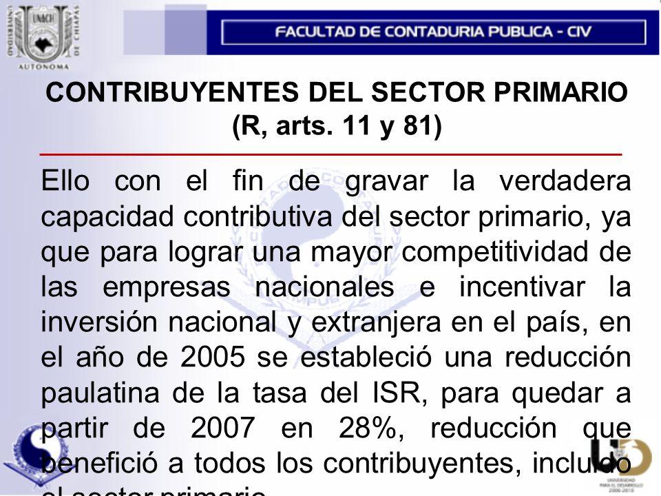 CONTRIBUYENTES DEL SECTOR PRIMARIO (R, arts. 11 y 81)