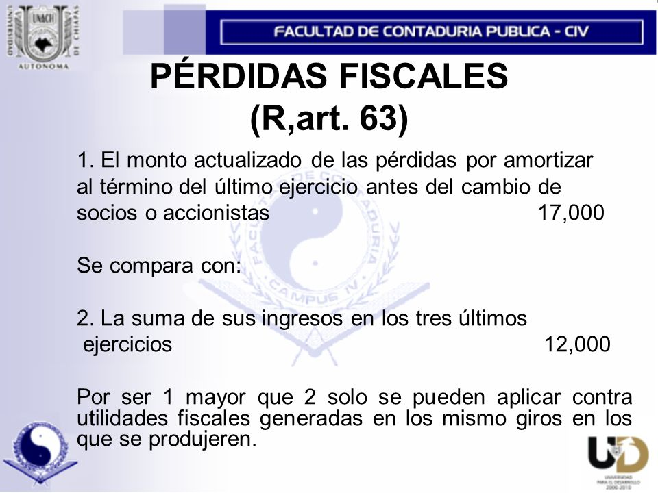 PÉRDIDAS FISCALES (R,art. 63)