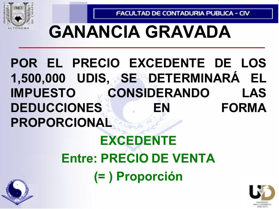 GANANCIA GRAVADA POR EL PRECIO EXCEDENTE DE LOS 1,500,000 UDIS, SE DETERMINARÁ EL IMPUESTO CONSIDERANDO LAS DEDUCCIONES EN FORMA PROPORCIONAL.