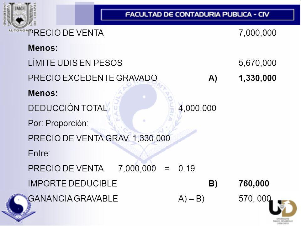 PRECIO DE VENTA 7,000,000 Menos: LÍMITE UDIS EN PESOS 5,670,000. PRECIO EXCEDENTE GRAVADO A) 1,330,000.