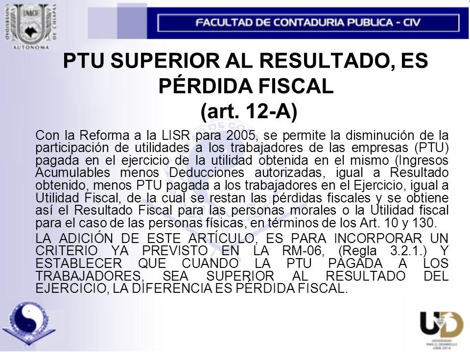 PTU SUPERIOR AL RESULTADO, ES PÉRDIDA FISCAL (art. 12-A)