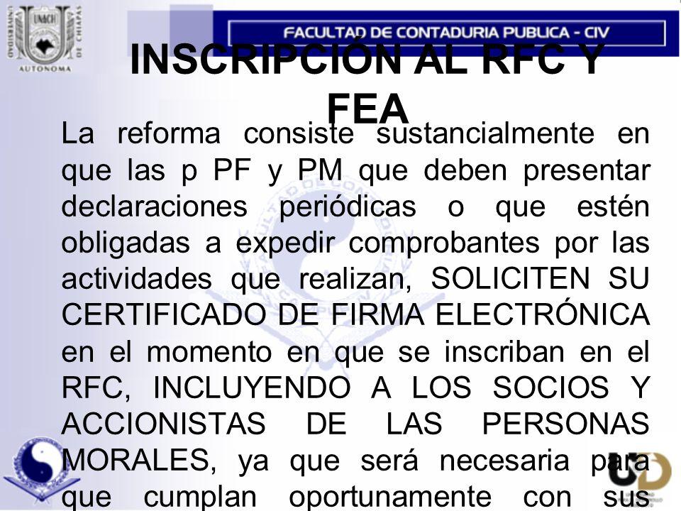 INSCRIPCIÓN AL RFC Y FEA