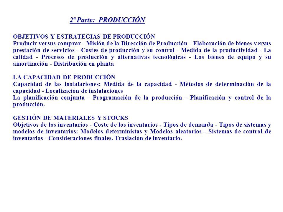 2ª Parte: PRODUCCIÓN OBJETIVOS Y ESTRATEGIAS DE PRODUCCIÓN