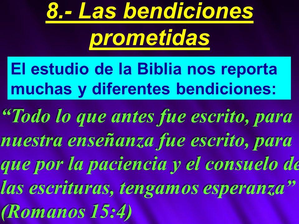 8.- Las bendiciones prometidas