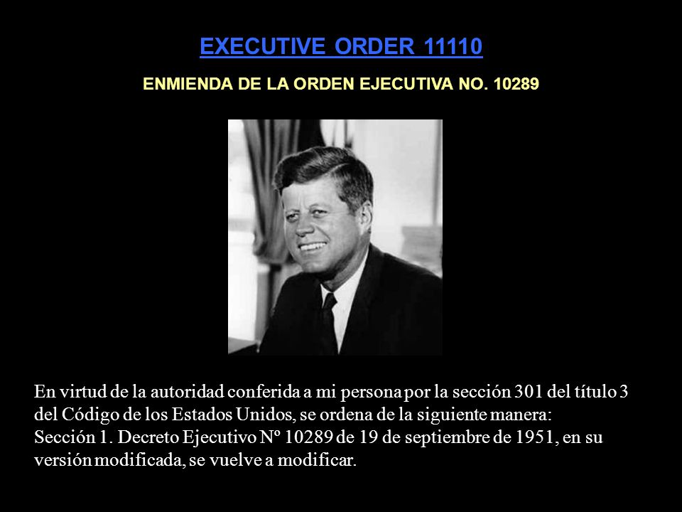 ENMIENDA DE LA ORDEN EJECUTIVA NO. 10289