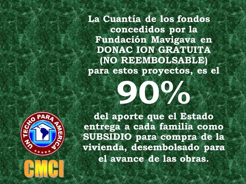 La Cuantía de los fondos concedidos por la Fundación Mavigava en DONAC ION GRATUITA (NO REEMBOLSABLE) para estos proyectos, es el 90% del aporte que el Estado entrega a cada familia como SUBSIDIO para compra de la vivienda, desembolsado para el avance de las obras.