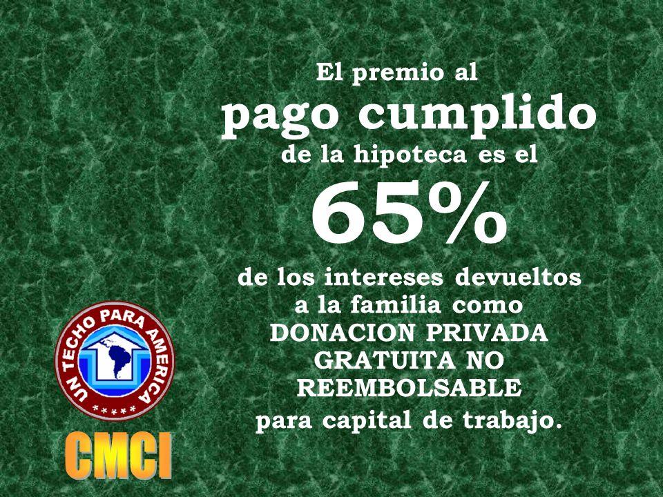 El premio al pago cumplido de la hipoteca es el 65% de los intereses devueltos a la familia como DONACION PRIVADA GRATUITA NO REEMBOLSABLE para capital de trabajo.