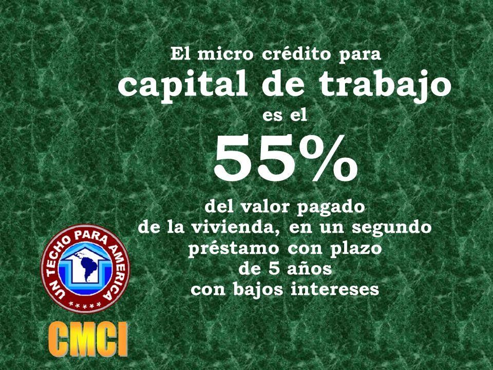 El micro crédito para capital de trabajo es el 55% del valor pagado de la vivienda, en un segundo préstamo con plazo de 5 años con bajos intereses