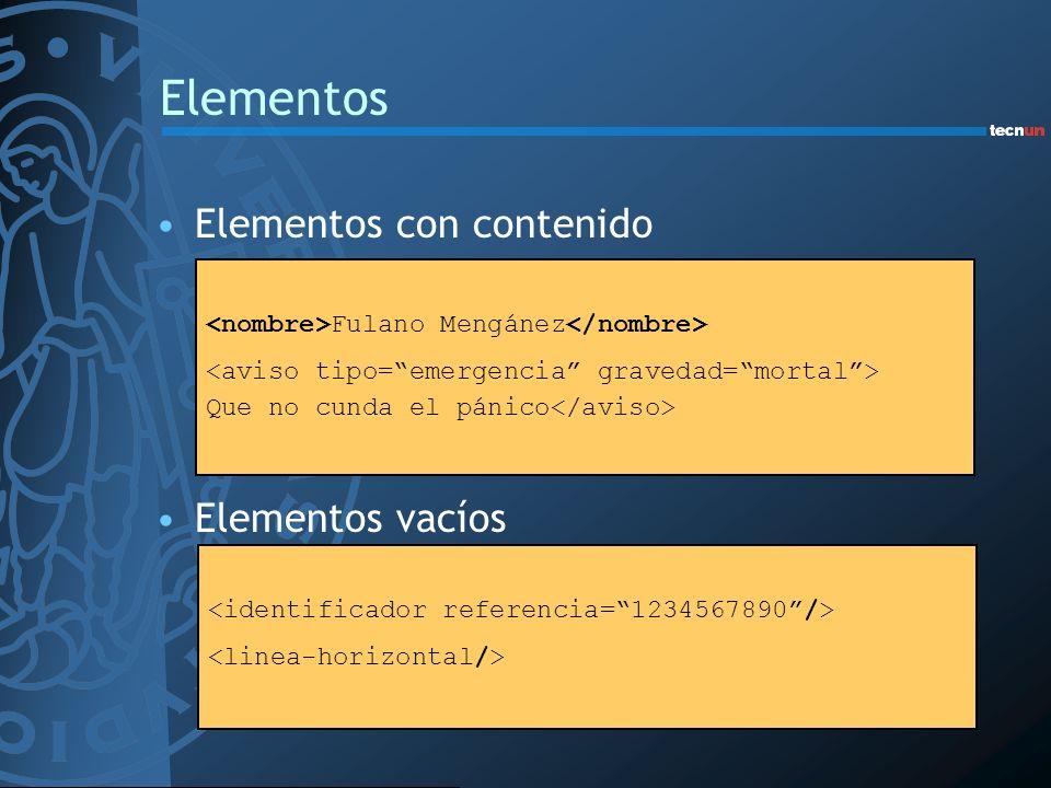 Elementos Elementos con contenido Elementos vacíos