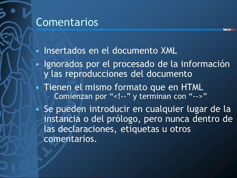 Comentarios Insertados en el documento XML