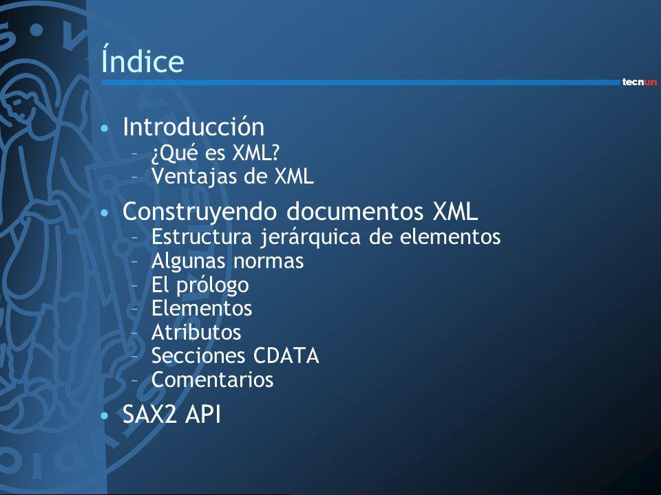 Índice Introducción Construyendo documentos XML SAX2 API ¿Qué es XML