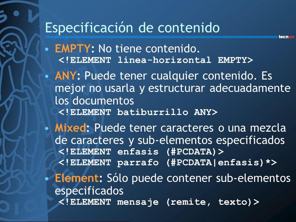Especificación de contenido