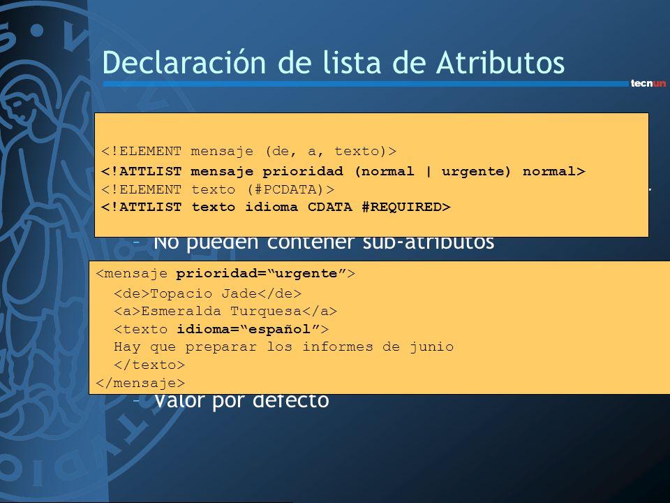Declaración de lista de Atributos