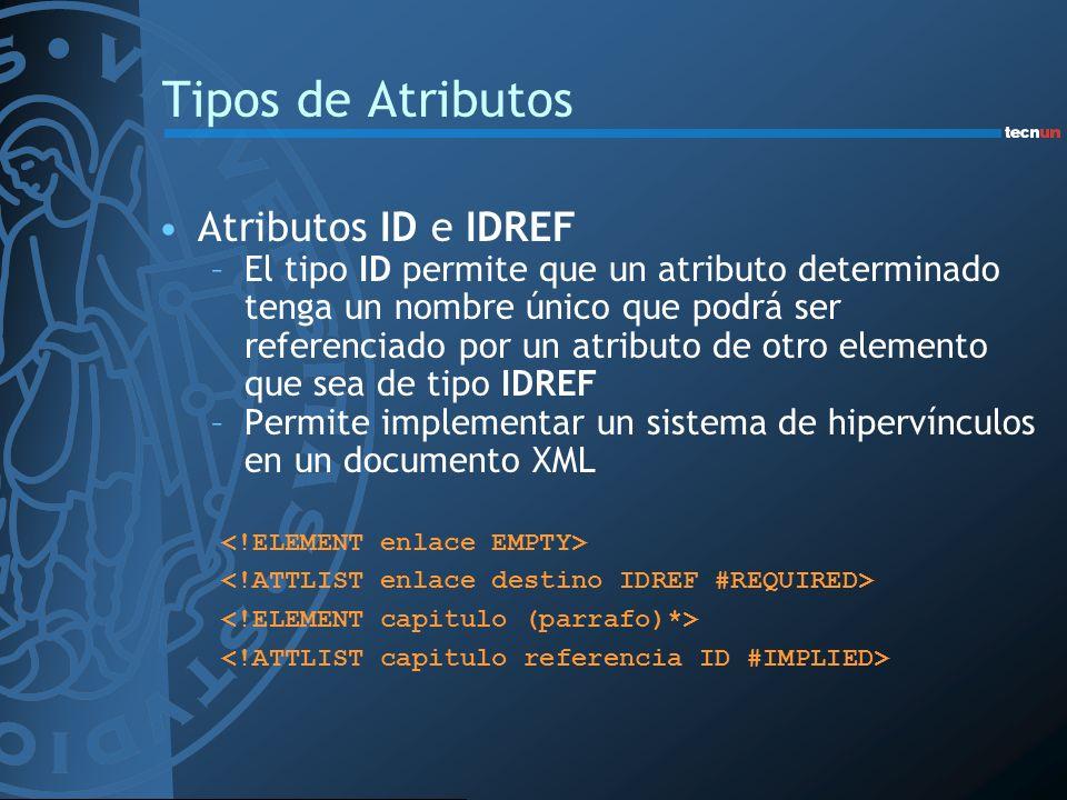 Tipos de Atributos Atributos ID e IDREF