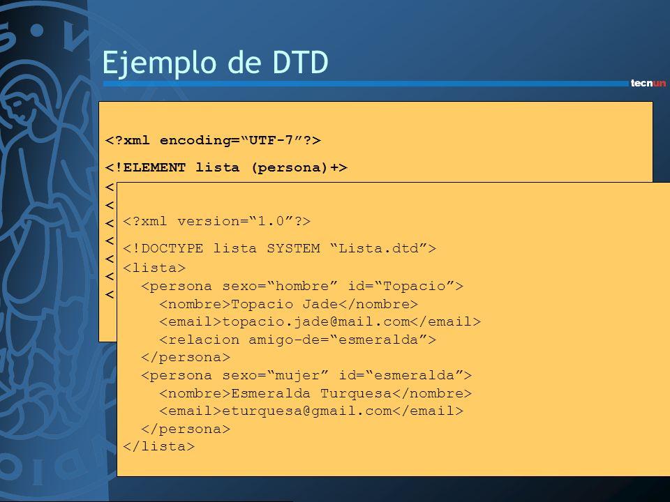 Ejemplo de DTD < xml encoding= UTF-7 >
