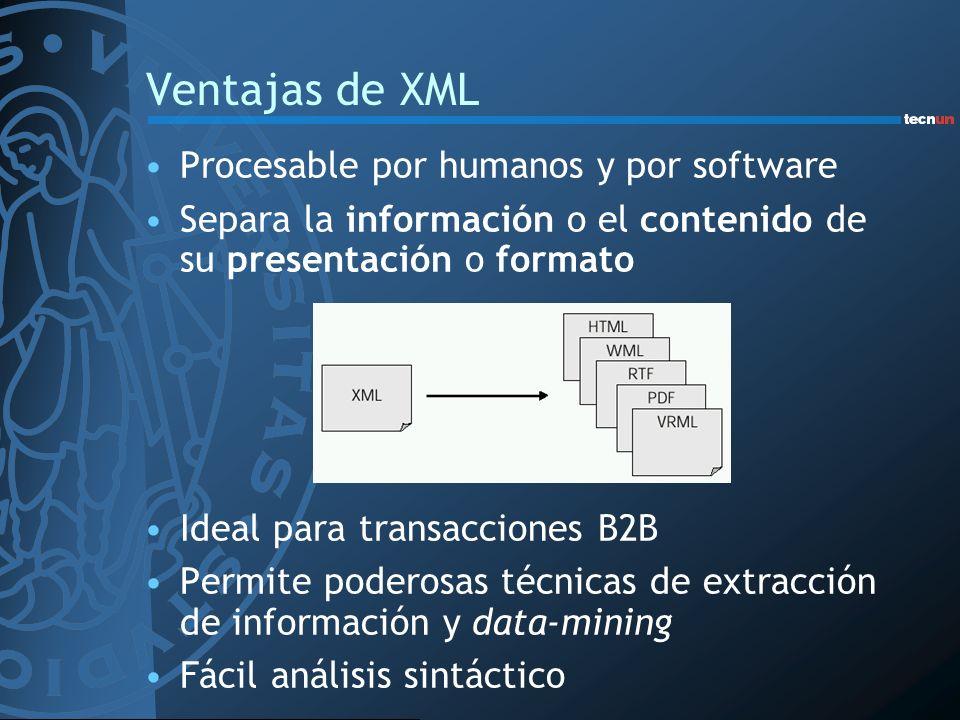 Ventajas de XML Procesable por humanos y por software
