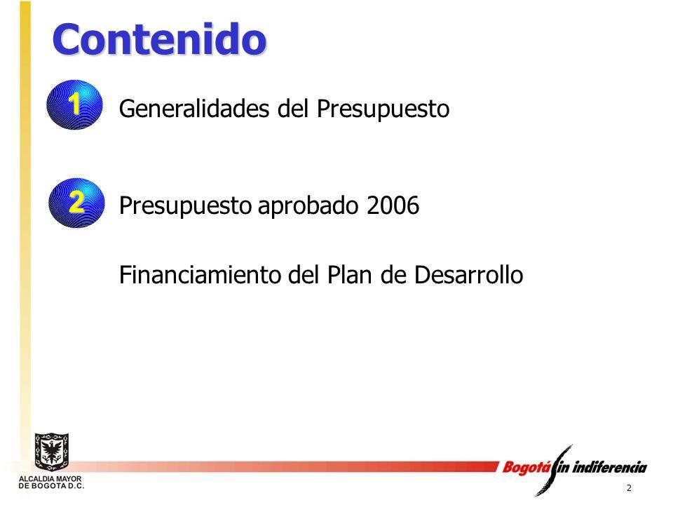Contenido 1 2 Generalidades del Presupuesto Presupuesto aprobado 2006