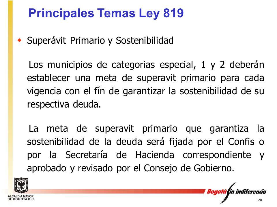 Principales Temas Ley 819 Superávit Primario y Sostenibilidad