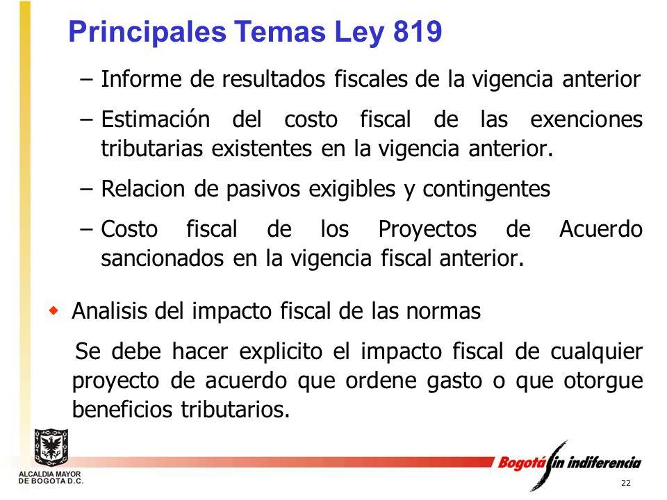 Principales Temas Ley 819 Informe de resultados fiscales de la vigencia anterior.