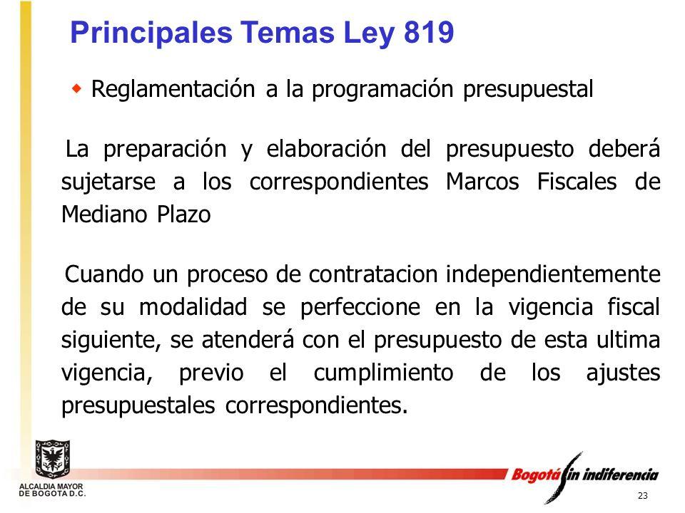 Principales Temas Ley 819 Reglamentación a la programación presupuestal.