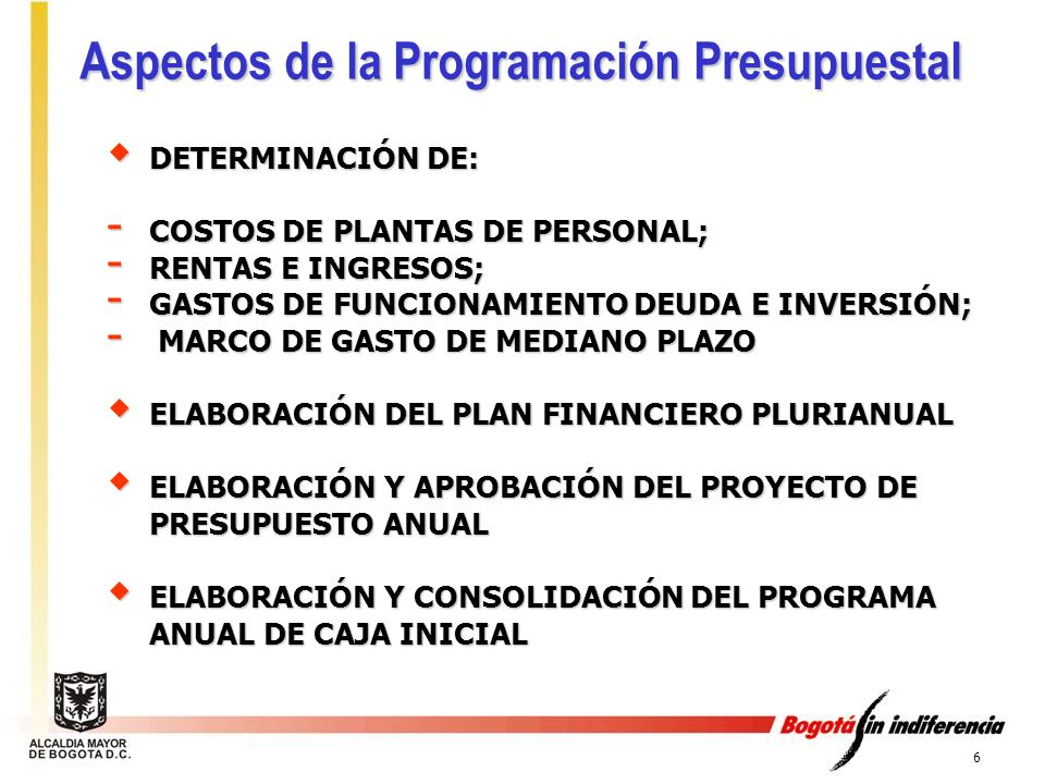 Aspectos de la Programación Presupuestal