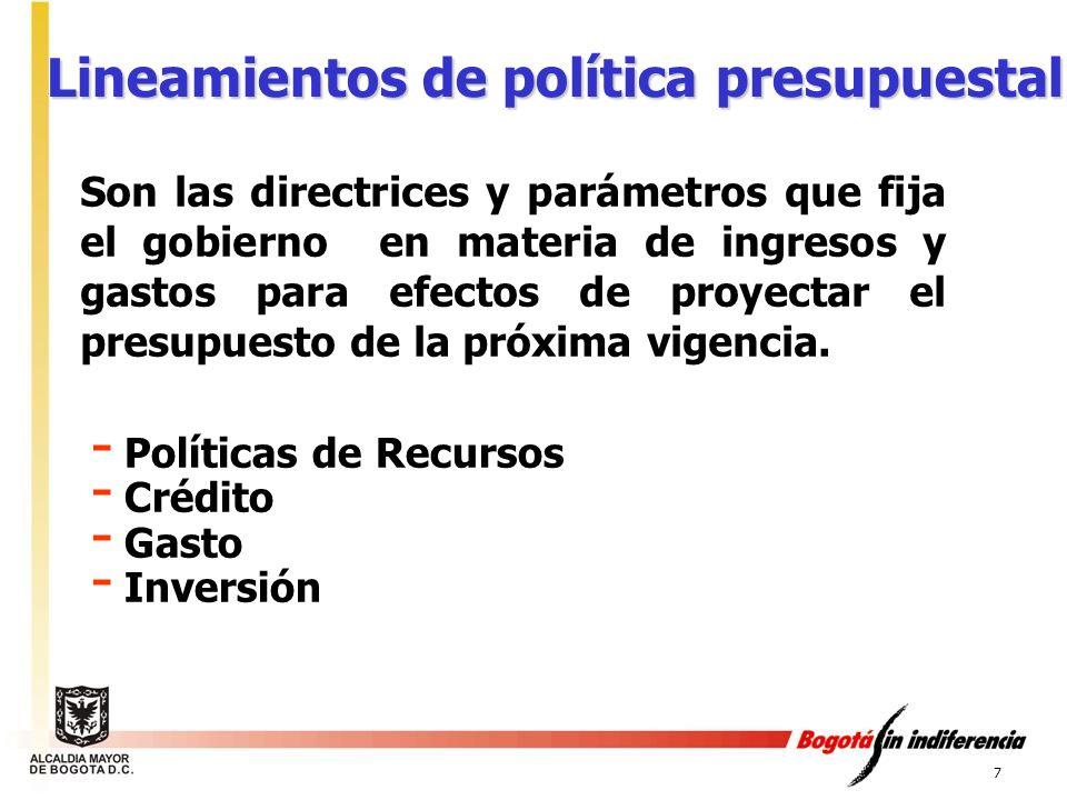 Lineamientos de política presupuestal