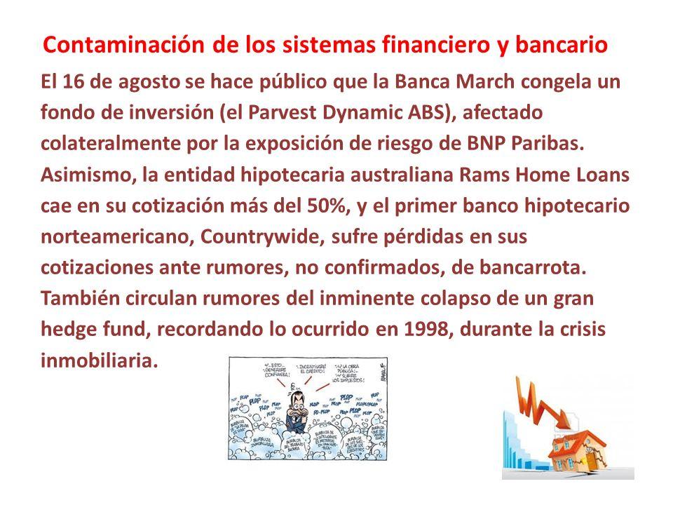Contaminación de los sistemas financiero y bancario