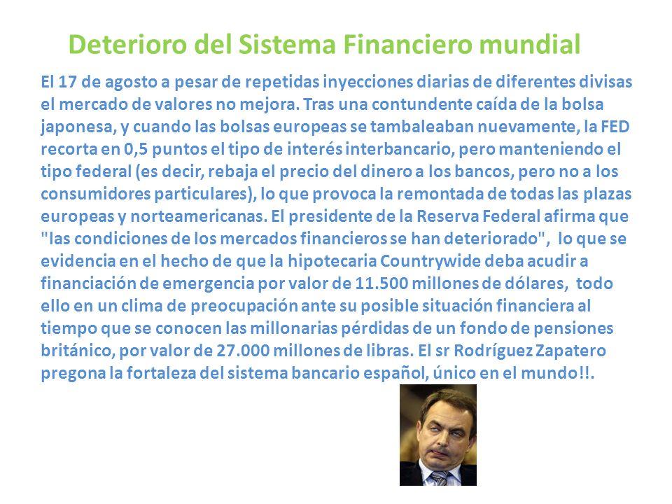 Deterioro del Sistema Financiero mundial