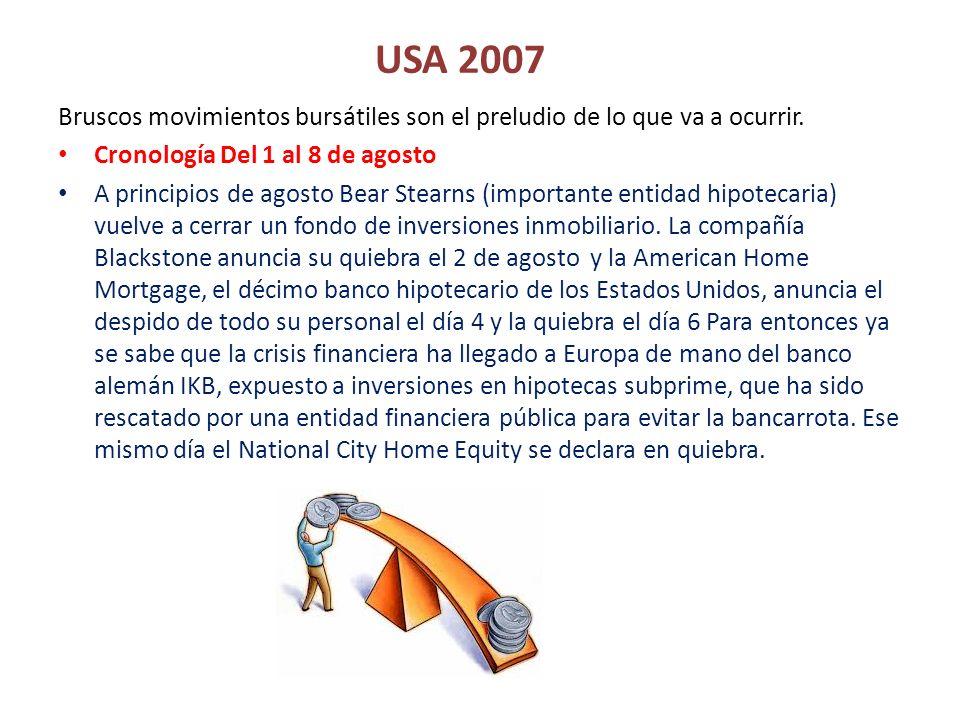 USA 2007 Bruscos movimientos bursátiles son el preludio de lo que va a ocurrir. Cronología Del 1 al 8 de agosto.