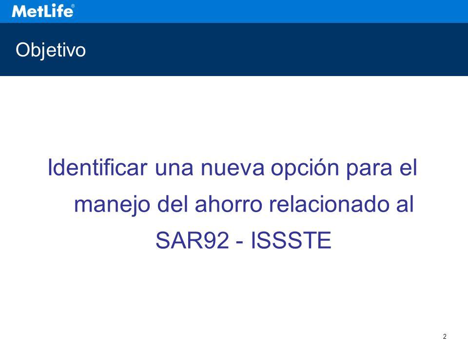 Objetivo Identificar una nueva opción para el manejo del ahorro relacionado al SAR92 - ISSSTE