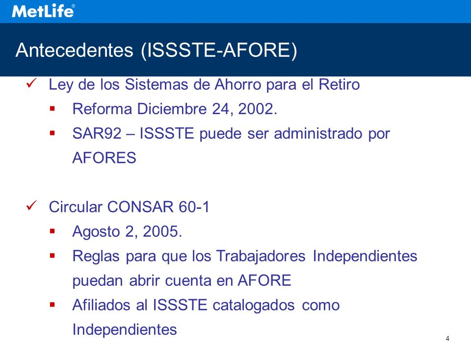Antecedentes (ISSSTE-AFORE)