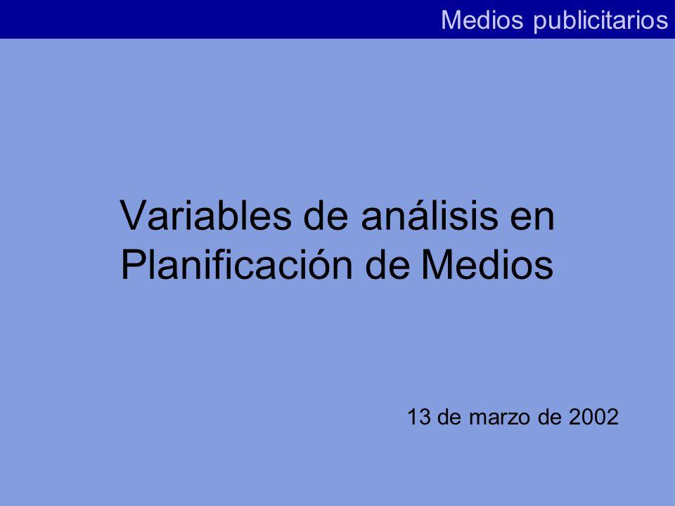 Variables de análisis en Planificación de Medios