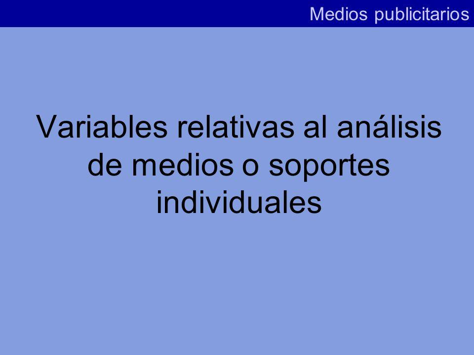 Variables relativas al análisis de medios o soportes individuales