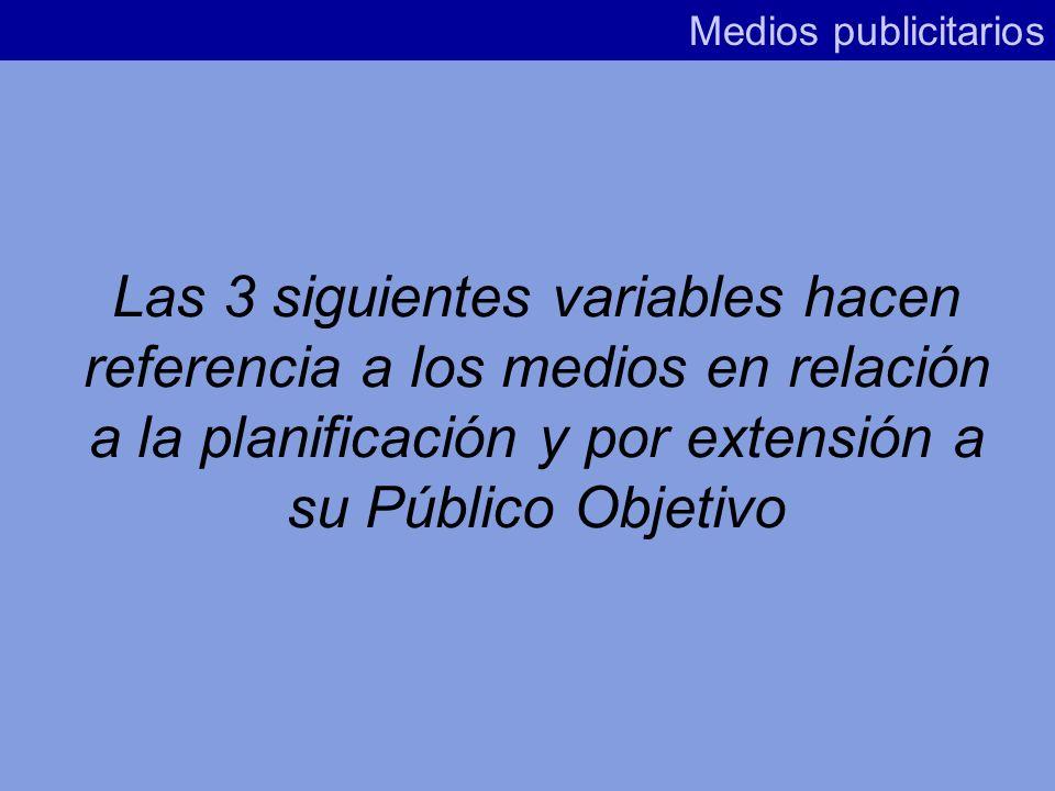 Medios publicitarios Las 3 siguientes variables hacen referencia a los medios en relación a la planificación y por extensión a su Público Objetivo.