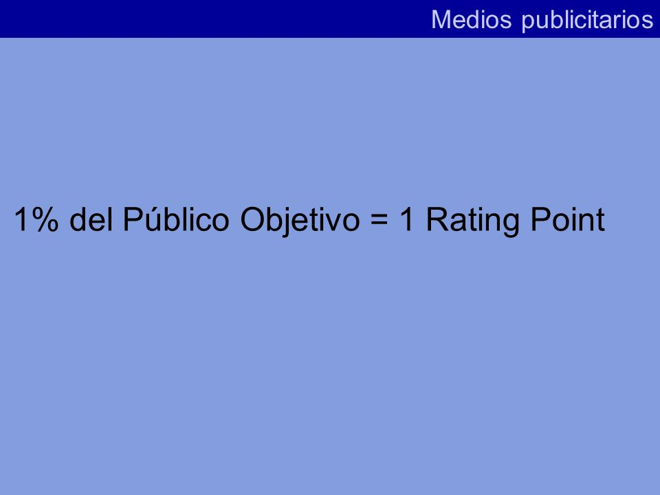 1% del Público Objetivo = 1 Rating Point