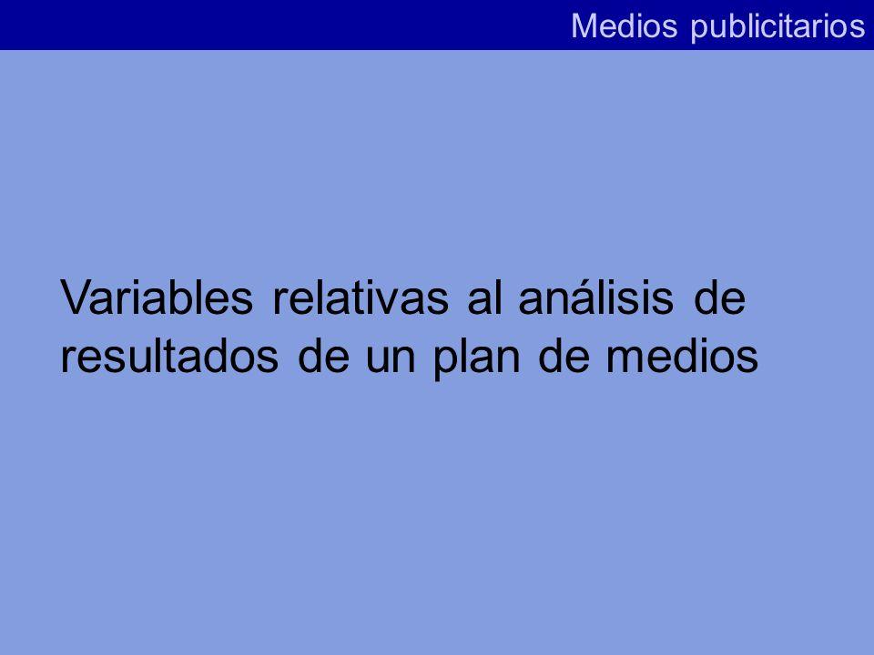 Variables relativas al análisis de resultados de un plan de medios