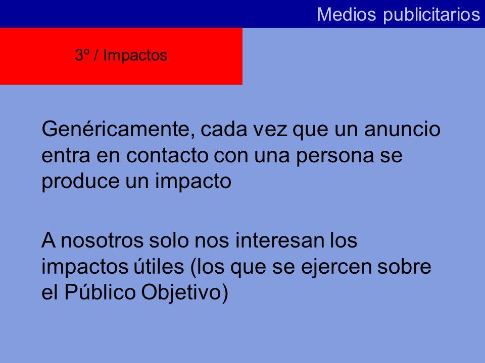 Medios publicitarios 3º / Impactos. Genéricamente, cada vez que un anuncio entra en contacto con una persona se produce un impacto.
