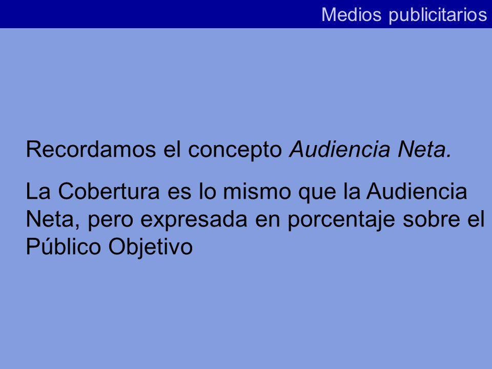 Recordamos el concepto Audiencia Neta.