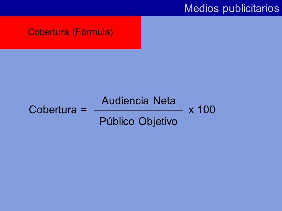 Medios publicitarios Audiencia Neta Cobertura = x 100 Público Objetivo