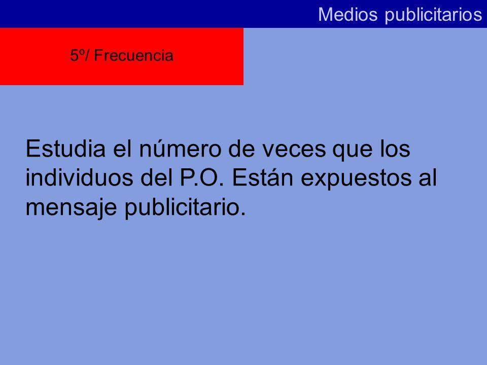 Medios publicitarios5º/ Frecuencia.Estudia el número de veces que los individuos del P.O.