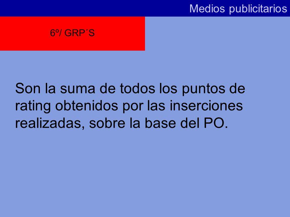 Medios publicitarios 6º/ GRP´S.