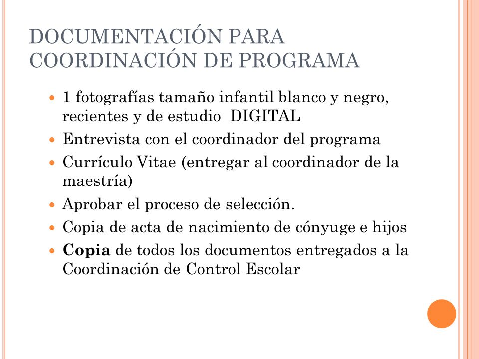 DOCUMENTACIÓN PARA COORDINACIÓN DE PROGRAMA