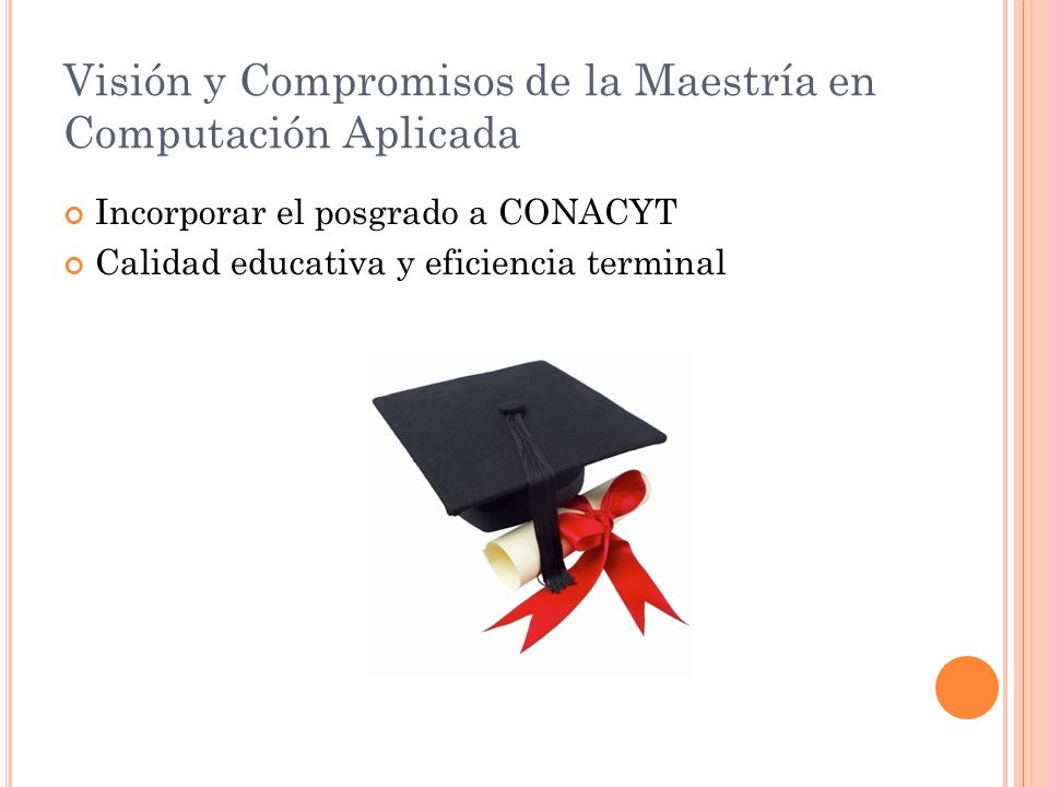 Visión y Compromisos de la Maestría en Computación Aplicada
