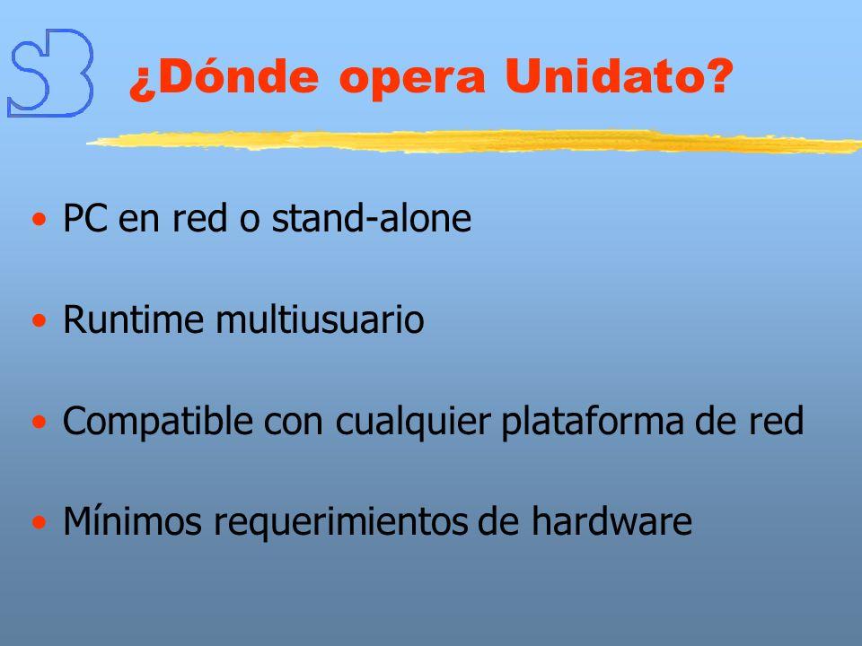 ¿Dónde opera Unidato PC en red o stand-alone Runtime multiusuario