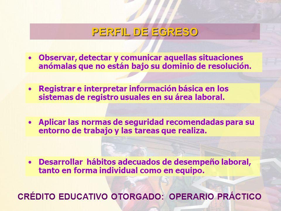 PERFIL DE EGRESO CRÉDITO EDUCATIVO OTORGADO: OPERARIO PRÁCTICO