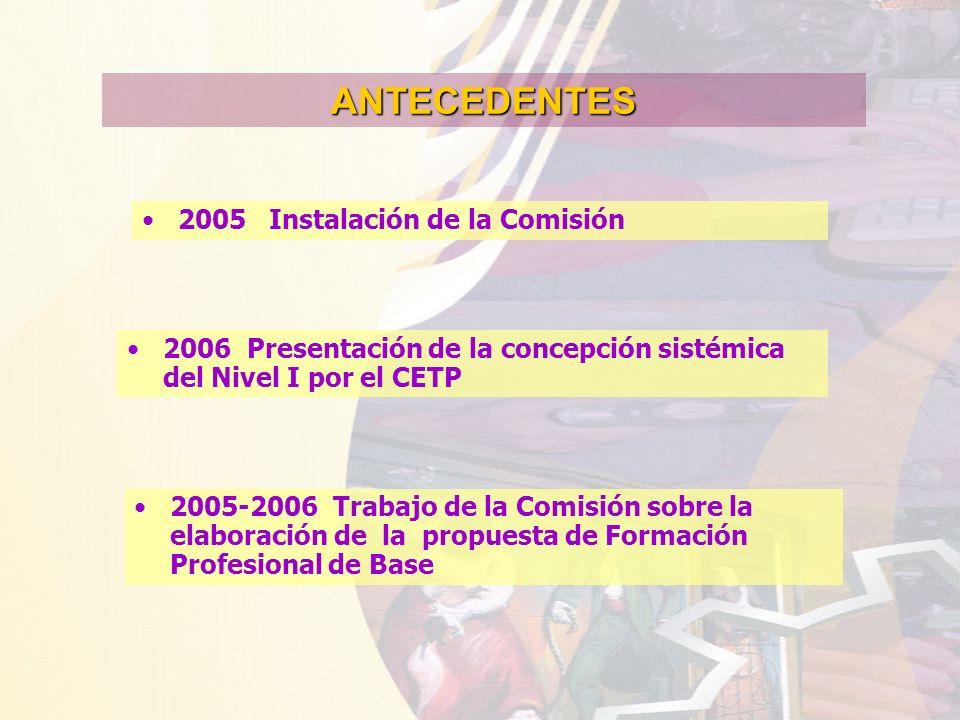ANTECEDENTES 2005 Instalación de la Comisión